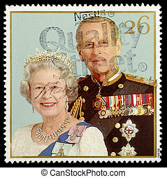 sello, reinas, dorado, boda