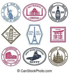 sellos, conjunto, monumentos