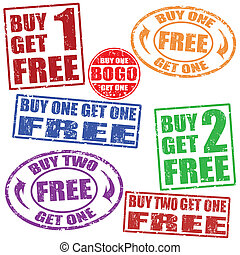 sellos, conjunto, venta, promocional