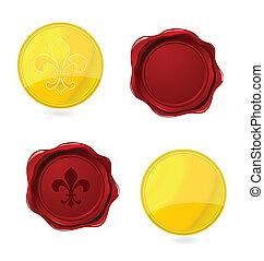 sellos, emblemas, elegancia, apretado