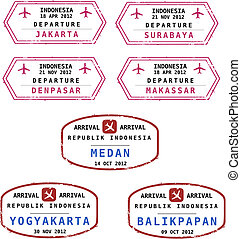 sellos, indonesia, pasaporte