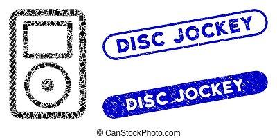 sellos, jugador, collage, jinete, medios, portátil, disco, ...