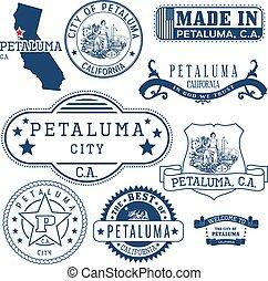sellos, petaluma, ca., ciudad, señales