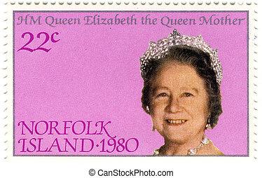 sellos, reina, viejo, elizabeth, madre