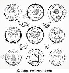 sellos, vector, grunge, navidad