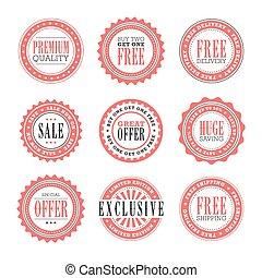 sellos, venta al por menor, insignias