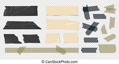 sellotape, beige, tape., stickers., bandes, isolé, ensemble, conditionnement, coloré, bandes, noir, adhésif, réaliste, vecteur, écossais, patch.