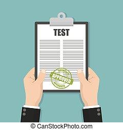selo, área de transferência, segurar passa, teste, documento, aprovado