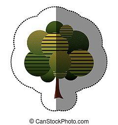 selo, árvore, arte, ícone