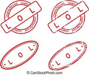 selo, acrônimo, lol, vermelho