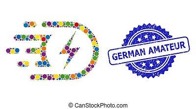 selo, alemão, selo, multicolored, borracha, amador, elétrico, colagem, voltagem