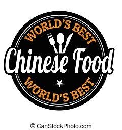 selo alimento, ou, chinês, etiqueta