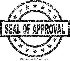 selo, aprovação, selo, grunge, textured
