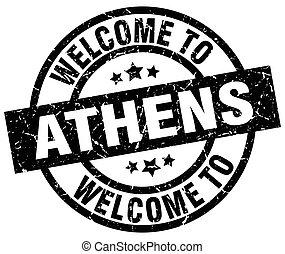selo, bem-vindo, pretas, Atenas