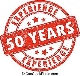 selo borracha, 50, experiência, ano