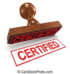 selo borracha, certificado, 3d