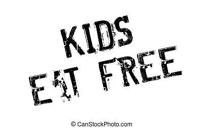 selo borracha, crianças, comer, livre