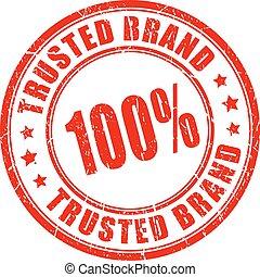 selo borracha, marca, trusted