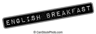 selo borracha, pequeno almoço, inglês