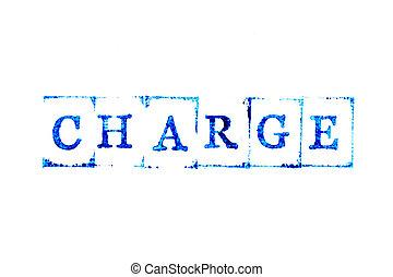 selo borracha, tinta, cor, palavra, fundo branco, azul, papel, débito