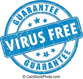 selo borracha, vírus, livre, garantia