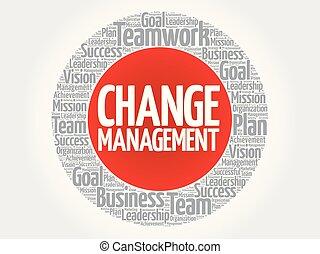 selo, círculo, gerência, mudança