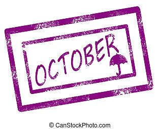 selo, calendário, outubro
