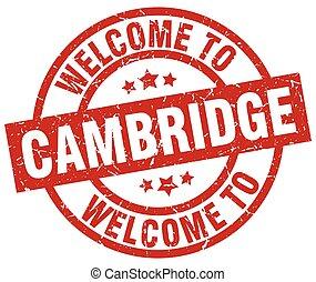 selo, cambridge, vermelho, bem-vindo