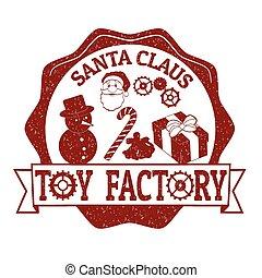 selo, claus, brinquedo, fábrica, santa