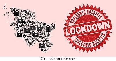 selo, colagem, textured, lockdown, terra, coronaviruses, selo, fechaduras, schleswig-holstein, mapa