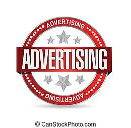 selo, com, palavra, advertising., ilustração