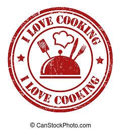selo, cozinhar, amor