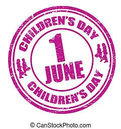 selo, crianças, dia