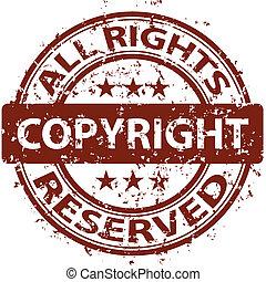 selo, danificado, vetorial, direitos autorais