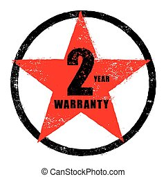 selo, de, 2, ano, garantia, sinal, vetorial