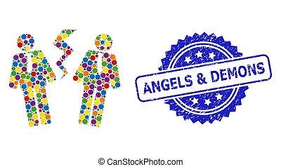 selo, demônios, selo, anjos, conflito, grunge, homens ...