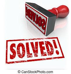 selo, desafio, solução, resolvido, problema, superar
