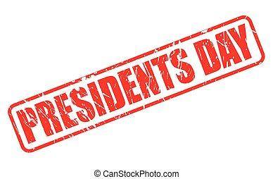 selo, dia presidentes, vermelho, texto