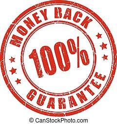 selo, dinheiro, 100, costas, garantia