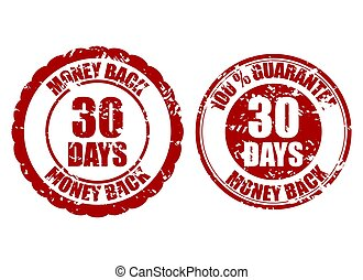 selo, dinheiro, 30, dias, costas, borracha, garantia