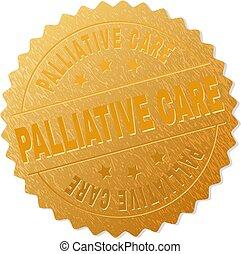selo, dourado, palliative, emblema, cuidado