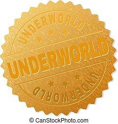 selo, dourado, underworld, distinção