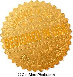 selo, emblema, eua, ouro, projetado