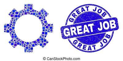selo, engrenagem azul, arranhado, selo, grande, trabalho, mosaico