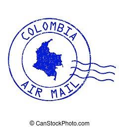 selo, escritório, ar, colômbia, correio, poste