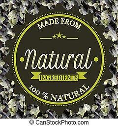 selo, feito, natural, ingredientes