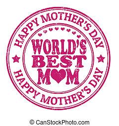 selo, feliz, dia, mãe