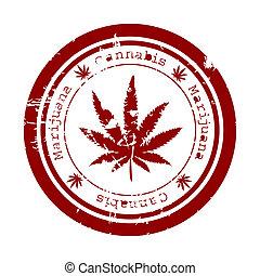 selo, folha, marijuana, vermelho