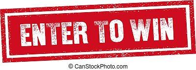 selo, ganhe, entrar, texto, fundo, selo, mensagem, branco vermelho