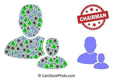 selo, geada, coronavirus, ícone, composição, selo, itens, arranhado, usuário, presidente, gerente